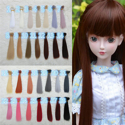 28 Colors DIY Long Straight Hair Wig for 1/3 1/4  Dollfie  Dolls Gift