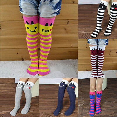 Baby Girls Kids Cotton Striped Thigh High Long Over Knee Cat Printed Socks 1-8Y