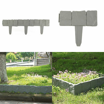 10X Plastic Cobbled Stone Effect Garden Edging Hammer-in Lawn Edging Plant