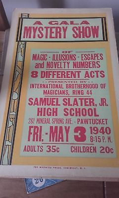 Gala Mystery Show  Magicans 1940S Cardboard Poster  Rare Magic From The Usa