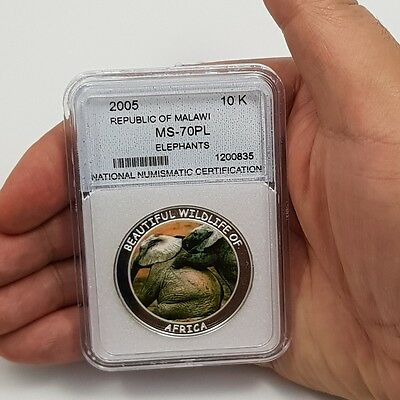2005 Republic of Malawi 10KWACHA MS-70PL Elephants  Silver plated Co-Ni proof