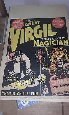 The Great Virgal Magican Cardboard Poster  Rare Magic From The Usa