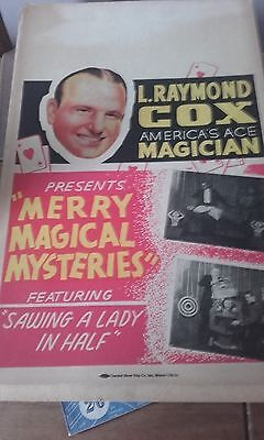 L.raymond Cox Magican Cardboard Poster  Rare Magic From The Usa