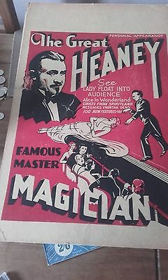 The Great Heaney Magican Cardboard Poster  Rare Magic From The Usa