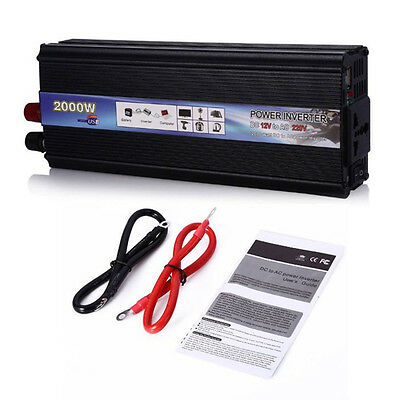 2000W DC 12V to AC 220V Car  Power Inverter Electronic Charger Converter Adapter