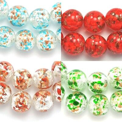 12x Round Lampwork Glass Silver Gold Foil Beads for Jewellery Making Craft 14mm