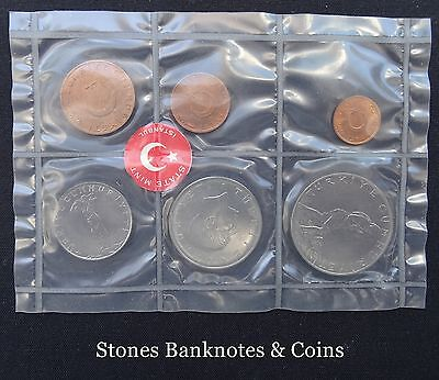 Turkey 6 Coin Set Uncirculated with Original Papers~Minted 1965 State Mint~UNC