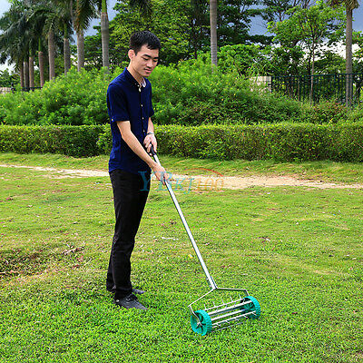 Portable Stainless Rolling Grass Lawn Aerator Roller Aluminum Handle Heavy Duty