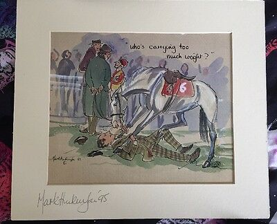 """Mark Huskinson SIGNED """"Who's Carrying Too Much Weight"""" Horse Racing Cartoon"""