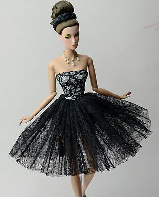 Fashion Black Gauze Skirt Evening Dress Outfit Gown Clothes For 11.5in.Doll