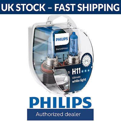 Philips Diamond Vision 5000K H11 Car Headlight Bulbs (Twin Pack of Bulbs)