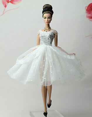 Fashion White Lace Ballet Skirts tutu Dress Outfit Gown For 11.5in.Doll