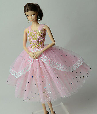 Fashion Pink Lace Ballet Skirts Evening Dress Outfit Gown For 11.5in.Doll