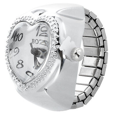Silver Tone Quartz Heart Pocket Finger Ring Watch L7T7