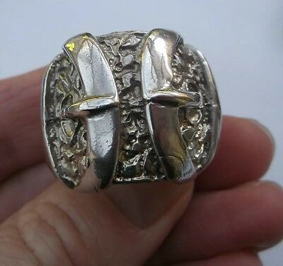 Men's Solid Silver Vintage 'Buckle' Ring Size Z Heavy 36.4g Quality Stamped