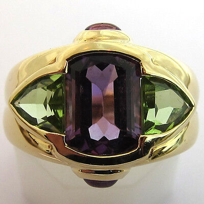 ❤ Importante Bague Or 18K (750) Peridot & Amethyste / Gold Ring Jewel