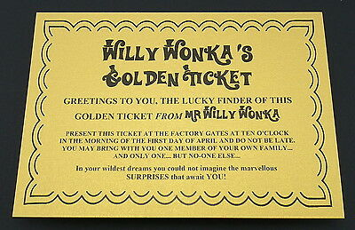 Willy Wonka Golden Ticket Perfect for World Book Day or for school Dress Up Day