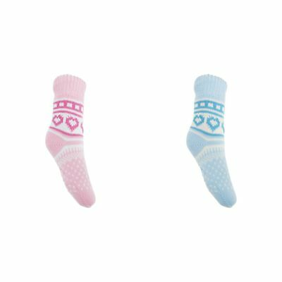 Childrens Girls Knitted Fairisle Faux Fur Lined Slipper Socks With Grippers