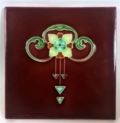 Original Antique Art Nouveau Tile c1905