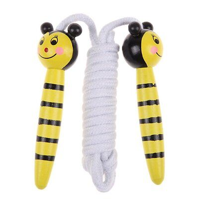 Childrens Wooden Handle Skipping Rope Animal Colourful Cartoon Zoo B6J8