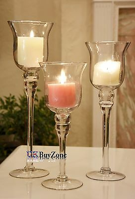 Set of 3 Tall Tea Light Stem Glass Candle Holders Wedding Table Decoration