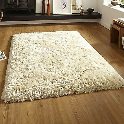 SMALL LARGE CREAM LUXURY PREMIUM THICK SOFT CREAM SHAGGY 8.5cm PILE MODERN RUGS