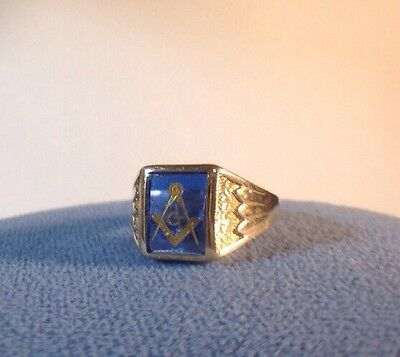 Peer Smed? 10k Gold Masonic Ring Blue Vintage Size 6-7 Unique