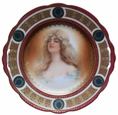 MZ Austria Antique Royal Vienna Porcelain Portrait Blond Lady Cabinet Plate