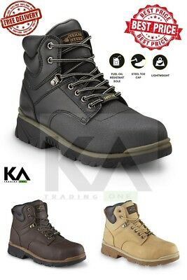 Steel Toe Work Boots Men's Safety Shoes Lightweight Oil Slip Resistant *NEW*