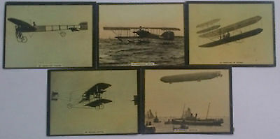 Set Of 5 Susini Tobacco Advertising Cards Early Airplanes  Circa 1910