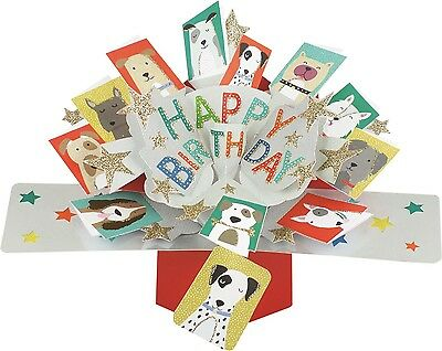3D Pop Up Card Happy Birthday Dogs Blank Greeting Cards Keepsake Lovely Gift