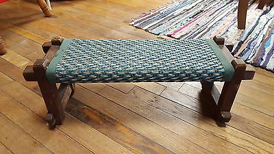 "Antique Rustic Primitive Wood Foot Stool with Weaved Woven Fabric 22""x 7""x 7.5"""