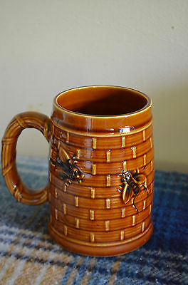 Vintage Belgian Pottery 0.5L Beer Mug Retro German Honey Bees