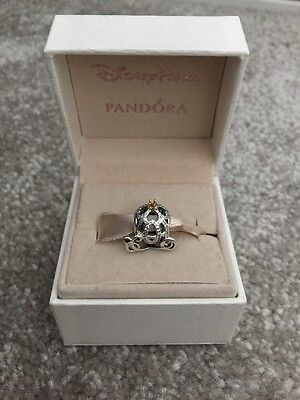 Genuine Disney Pandora Cinderella Pumpkin Carriage,Coach 14k Crown No Box