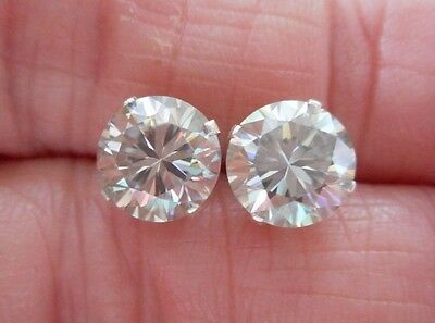 EARRING PAIR SILVER 3.06TCW 1.53ct VVS1 7.70mm ICY SILVER WHITE ROUND MOISSANITE