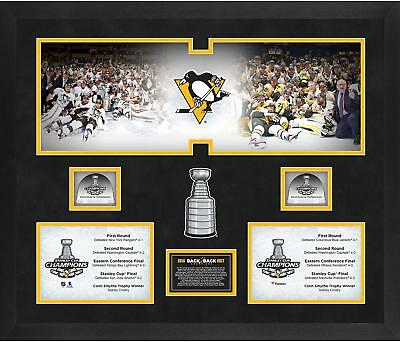 Pittsburgh Penguins B2B Stanley Cup Champs Framed 20x24 Collage w/ Game-Used Ice
