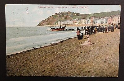 Aberystwyth Wales Launch of  Lifeboat Vintage Postcard