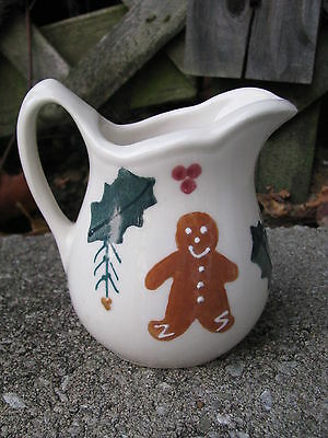 Hartstone Pottery Gingerbread Boy Holly Ornament Pitcher Creamer Christmas