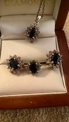 Sapphire and Diamond Jewelry Set  Ring size 8