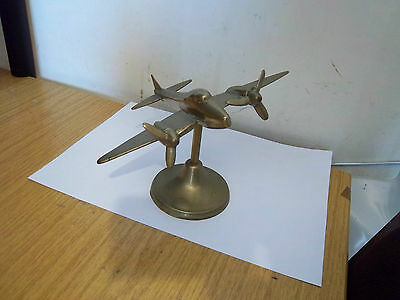 WW2 SOLID BRASS TRENCH ART AEROPLANE De Havilland Mosquito On Stand Trench Art
