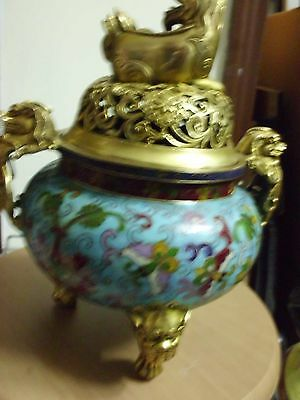 Antique Chinese Blue Enamelled Porcelain  With 3 Legged Vessel