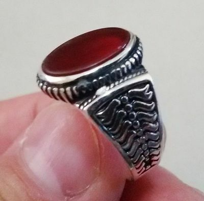Turkish 925 Sterling Silver Men's Ring Agate Stone  Size 10.5   #323