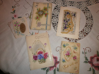 5 X Vintage Antique Unusual Collection Sweet Christmas Cards 1924 Art Nouveau