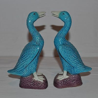 Vtg Pair Chinese Export Pottery Turquoise Blue Glaze Tall Standing Duck Figurine