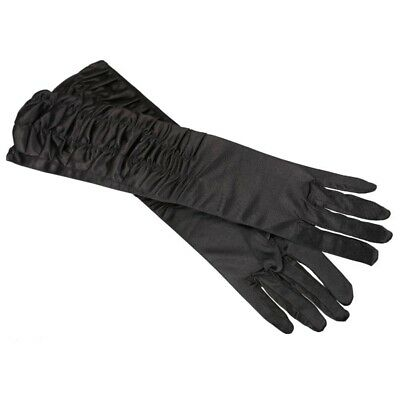 A Pair Long Stretch Satin Ruched Evening Gloves for Fancy Dress Costume - Bla DP