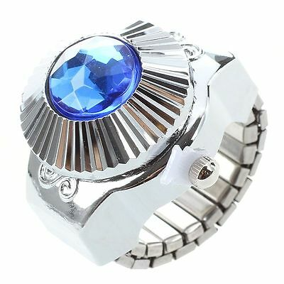 Blue Rhinestone Style Women's Fashion Finger Ring Watch D7T4