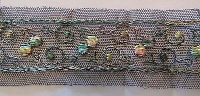 """Antique Lace Trim Embroidered French Net Tulle Circles Navy Blue 16"""" x  2"""""""