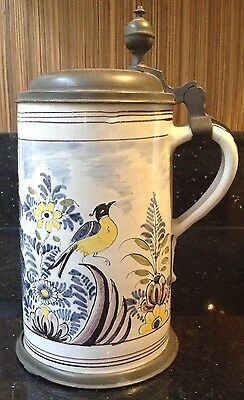 Antique Early German Faience Beer Stein Bird Decoration Damaged
