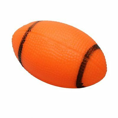 Dog Squeaky Toy For Pet Dog Chew Toy Small Rubber Squeaky Rugby Ball Orange U3A5