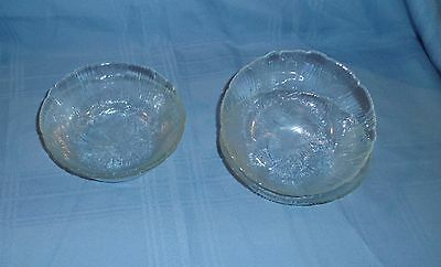 "ARCOROC Clear Glass CANTERBURY  CROCUS  Soup Cereal Bowls 6 1/4"" - 4 pcs"